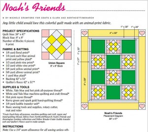 Noahs friend baby quilt pattern