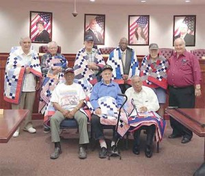 veterans with quilts